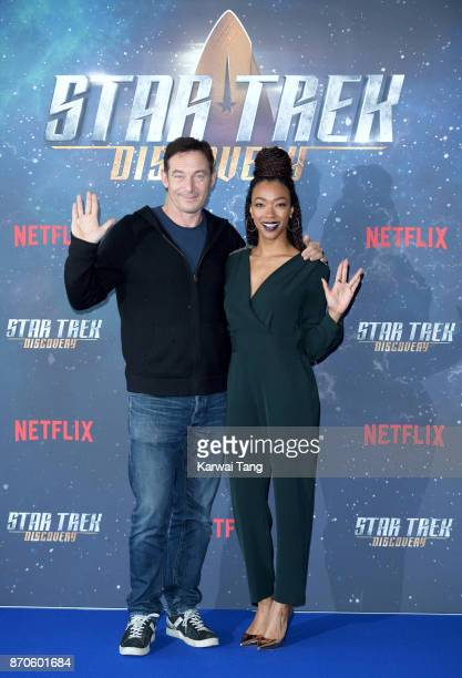Jason Isaacs and Sonequa MartinGreen attend the 'Star Trek Discovery' photocall at Millbank Tower on November 5 2017 in London England