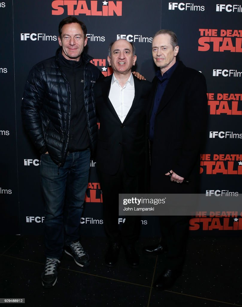 jason Isaacs, Armando Iannucci and Steve Buscemi attend 'The Death Of Stalin' New York premiere at AMC Lincoln Square Theater on March 8, 2018 in New York City.