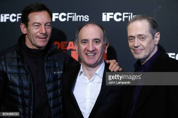 jason Isaacs Armando Iannucci and Steve Buscemi attend 'The Death Of Stalin' New York premiere at AMC Lincoln Square Theater on March 8 2018 in New...