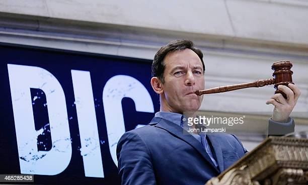 Jason Isaacs rings the NYSE closing bell at New York Stock Exchange on March 5 2015 in New York City
