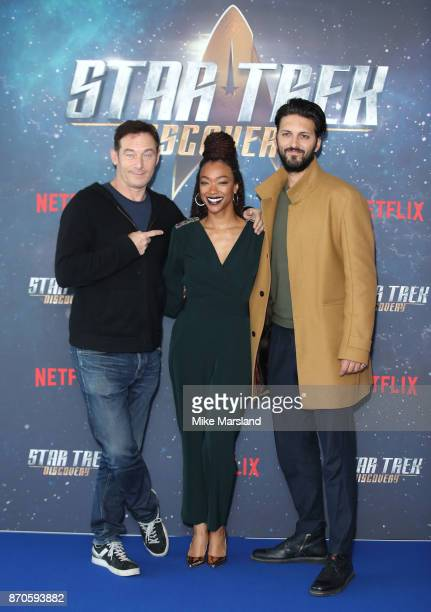 Jason Isaacs Sonequa MartinGreen and Shazad Latif attend the 'Star Trek Discovery' photocall at Millbank Tower on November 5 2017 in London England