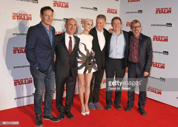 Jason Isaacs writer/director Armando Iannucci Andrea Riseborough Michael Palin Paul Whitehouse and cowriter David Schneider attend the UK Premiere of...