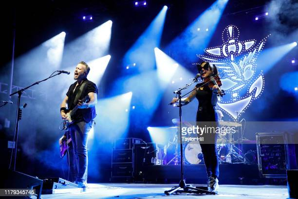 Jason Isbell and Amanda Shires perform during the inaugural Shoals Fest at McFarland Park on October 05 2019 in Florence Alabama
