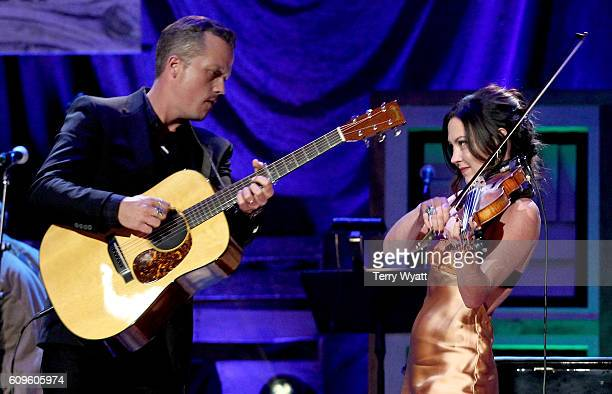 Jason Isbell and Amanda Shires perform onstage at the Americana Honors Awards 2016 at Ryman Auditorium on September 21 2016 in Nashville Tennessee at...