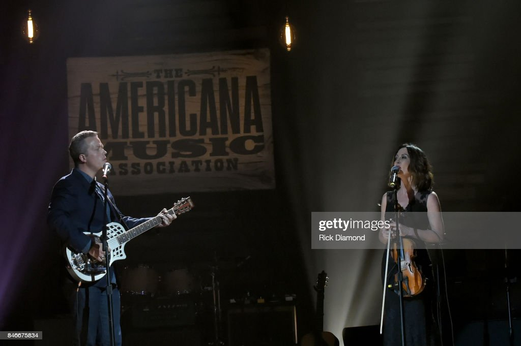 Jason Isbell and Amanda Shires perform onstage during the 2017 Americana Music Association Honors & Awards on September 13, 2017 in Nashville, Tennessee.