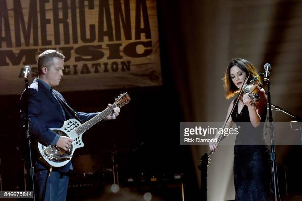 Jason Isbell and Amanda Shires perform onstage during the 2017 Americana Music Association Honors Awards on September 13 2017 in Nashville Tennessee