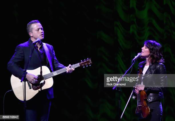 Jason Isbell and Amanda Shires perform onstage during the kick off of Jason Isbell's sold out residency at the Country Music Hall of Fame and Museum...