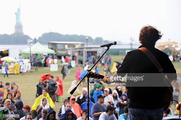 Jason Isbell performs on stage during the 2008 All Points West music and arts festival at Liberty State Park on August 10 2008 in Jersey City New...