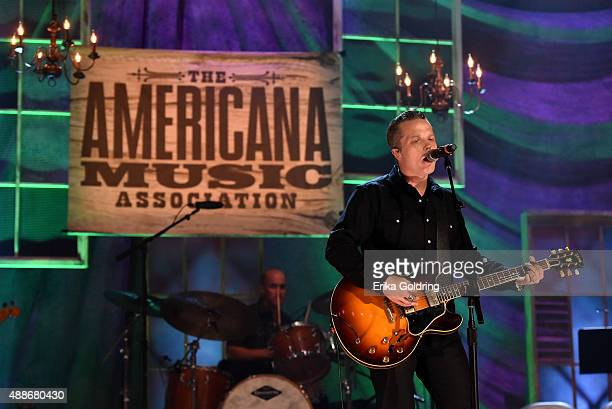 Jason Isbell performs onstage at the 14th annual Americana Music Association Honors and Awards Show at the Ryman Auditorium on September 16 2015 in...