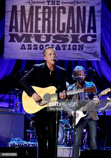 Jason Isbell performs onstage at the Americana Honors Awards 2016 at Ryman Auditorium on September 21 2016 in Nashville Tennessee at Ryman Auditorium...