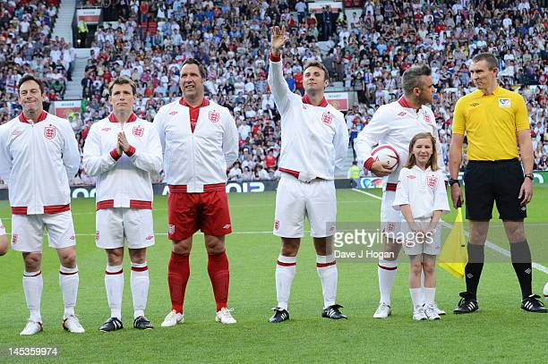 Jason Issacs, Ben Shepard, David Seaman, Jonathan Wilkes and Robbie Williams attend Soccer Aid 2012 in aid of Unicef at Old Trafford on May 27, 2012...