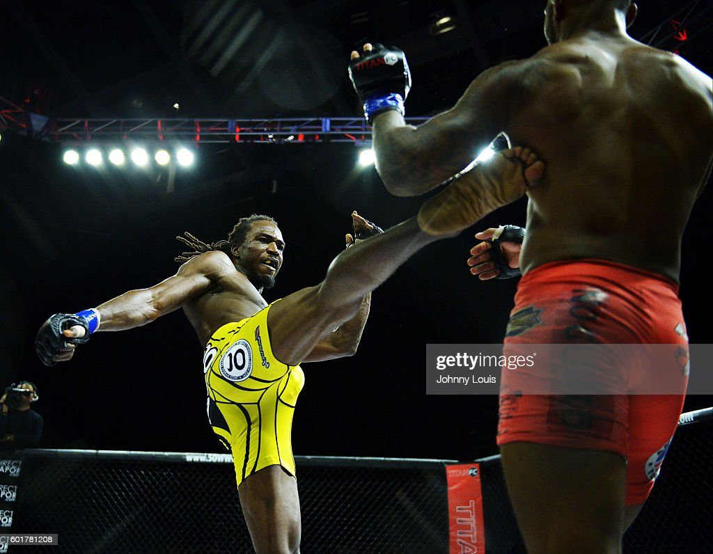 Jason Jackson fight Rodrigo Cavalheiro in their Welterweight bout during the TITAN FC41 UFC fight event at Bank United Center on September 9, 2016 in Miami, Florida.