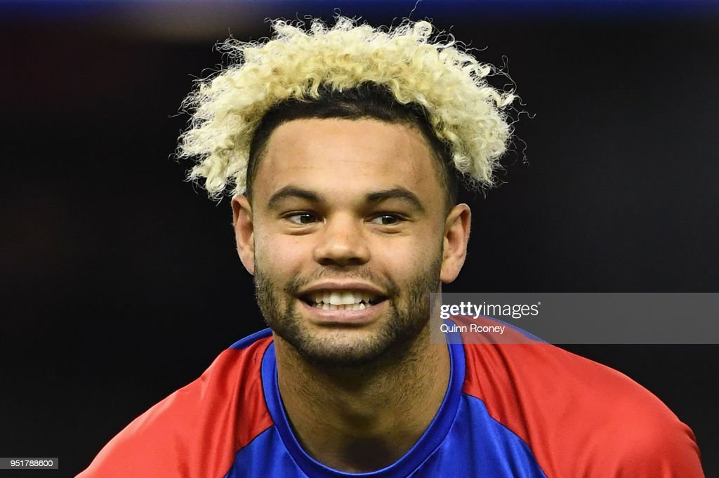 Jason Johannisen of the Bulldogs looks on during the AFL round six match between the Western Bulldogs and Carlton Blues at Etihad Stadium on April 27, 2018 in Melbourne, Australia.