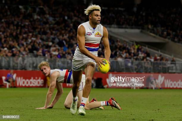 Jason Johannisen of the Bulldogs looks to pass the ball during the round five AFL match between the Fremantle Dockers and the Western Bulldogs at...