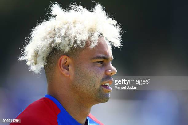 Jason Johannisen of the Bulldogs looks upfield during the JLT Community Series AFL match between Collingwood Magpies and the Western Bulldogs at Ted...