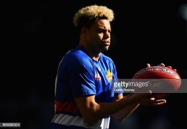 Jason Johannisen of the Bulldogs warms up during the round 15 AFL match between the Western Bulldogs and the West Coast Eagles at Etihad Stadium on...