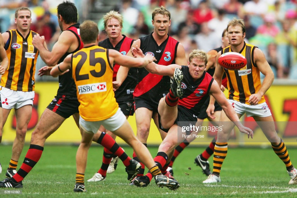 Jason Johnson #14 for the Bombers in action during the round three AFL match between the Essendon Bombers and the Hawthorn Hawks at the M.C.G. on April 10, 2005 in Melbourne, Australia.