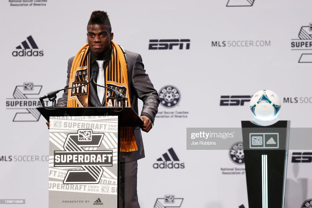 Jason Johnson of VCU speaks to the crowd after being selected by the Houston Dynamo as the 13th overall pick in the 2013 MLS SuperDraft Presented by Adidas at the Indiana Convention Center on January 17, 2013 in Indianapolis, Indiana.