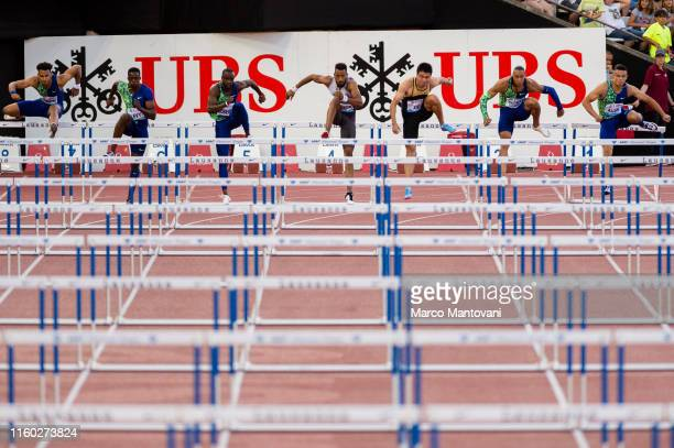 Jason Joseph Ronald Levy Daniel Roberts Orlando Ortega Wenjun Xie Pascal MartinotLagarde and Devan Allen compete in men's 110m Hurdles on July 05...