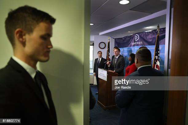 Jason Kander president of Let America Vote speaks as Rep Joaquin Castro and Rep Terri Sewell listen during a press conference held at the Democratic...