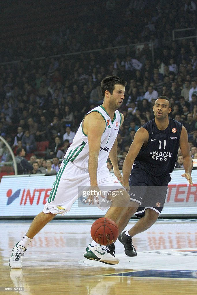 Jason Kapono #9 of Panathinaikos Athens competes with Joshua Shipp #11 of Anadolu Efes during the 2012-2013 Turkish Airlines Euroleague Top 16 Date 2 between Anadolu EFES Istanbul v Panathinaikos Athens at Abdi Ipekci Sports Arena on January 3, 2013 in Istanbul, Turkey.