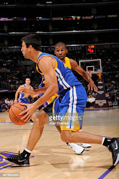 Jason Kapono of the Golden State Warriors drives to the basket against the Los Angeles Lakers on October 9 2014 at the Staples Center in Los Angeles...