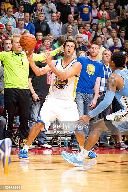 Jason Kapono of the Golden State Warriors makes a pass the ball against the Denver Nuggets at the NBA PreSeason game on October 16 2014 at the Wells...