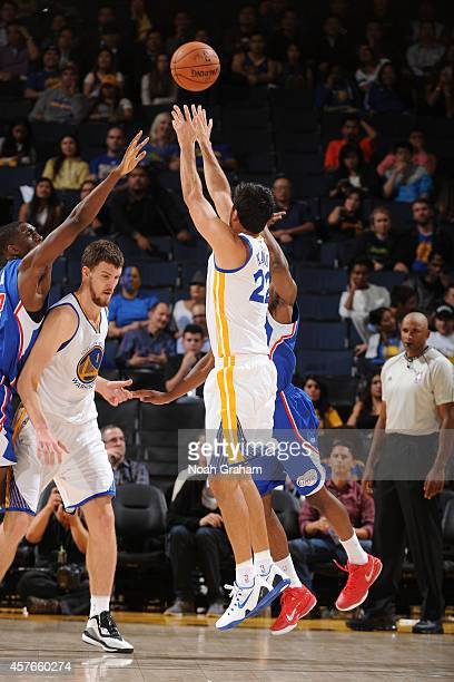 Jason Kapono of the Golden State Warriors shoots the ball against the Los Angeles Clippers on October 21 2014 at Oracle Arena in Oakland California...