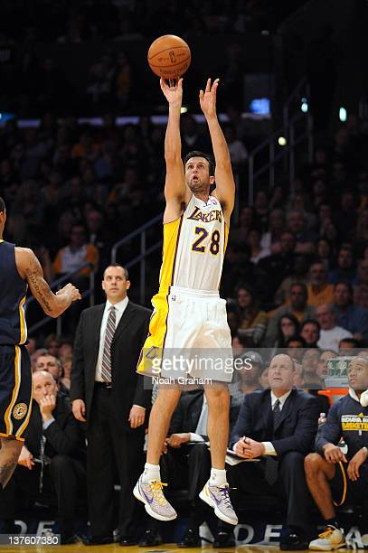 Jason Kapono of the Los Angeles Lakers shoots the jumper during the game against the Indiana Pacers at Staples Center on January 22 2012 in Los...