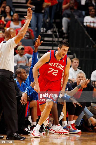 Jason Kapono of the Philadelphia 76ers celebrates the three pointer against the Charlotte Bobcats on March 31 2010 at the Time Warner Cable Arena in...