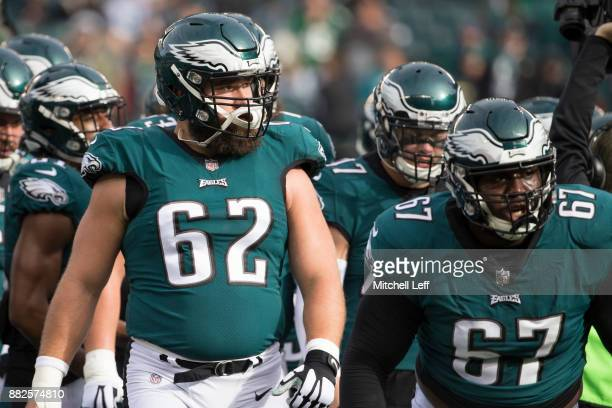 Jason Kelce and Chance Warmack of the Philadelphia Eagles walk off the field prior to the game against the Chicago Bears at Lincoln Financial Field...