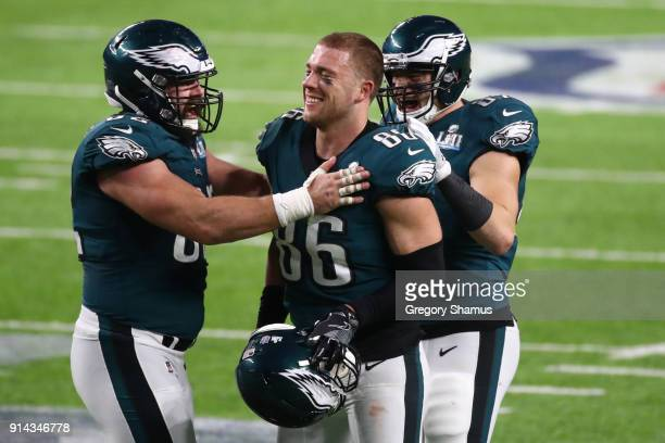Jason Kelce Brent Celek and Zach Ertz of the Philadelphia Eagles celebrate Ertz's 11 yard touchdown against the New England Patriots during the...