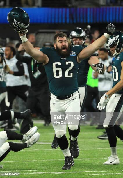 Jason Kelce of the Philadelphia Eagles celebrates after defeating the New England Patriots 41-33 in Super Bowl LII at U.S. Bank Stadium on February...