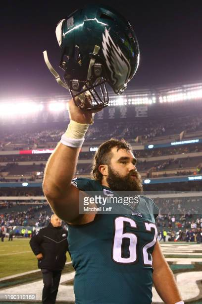 Jason Kelce of the Philadelphia Eagles celebrates after the game against the Dallas Cowboys at Lincoln Financial Field on December 22, 2019 in...