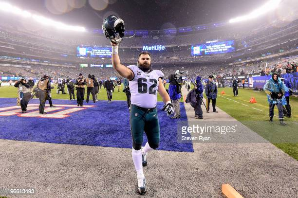 Jason Kelce of the Philadelphia Eagles celebrates his teams win over the New York Giants at MetLife Stadium on December 29, 2019 in East Rutherford,...