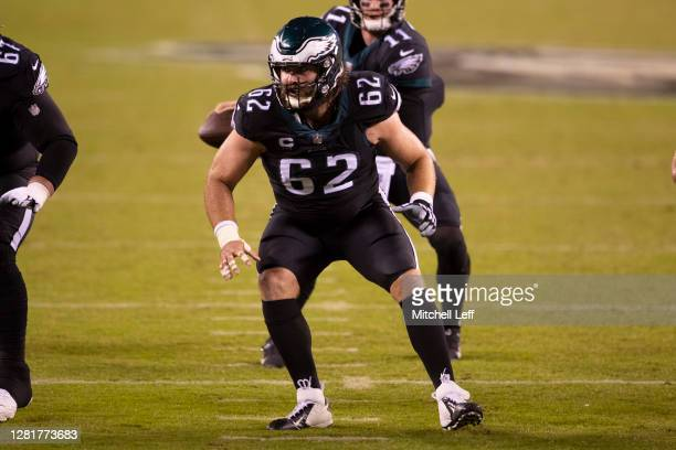 Jason Kelce of the Philadelphia Eagles in action against the New York Giants at Lincoln Financial Field on October 22, 2020 in Philadelphia,...