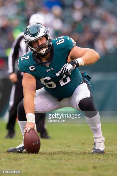 Jason Kelce of the Philadelphia Eagles in action against the Seattle Seahawks at Lincoln Financial Field on November 24, 2019 in Philadelphia,...