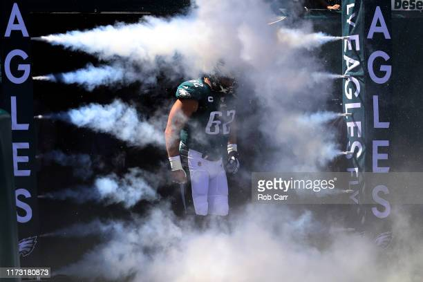 Jason Kelce of the Philadelphia Eagles is introduced before the start of the Eagles and Washington Redskins game at Lincoln Financial Field on...