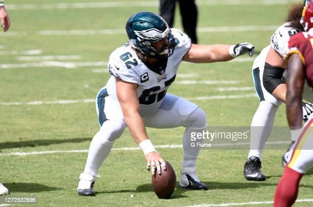 Jason Kelce of the Philadelphia Eagles lines up against the Washington Football Team at FedExField on September 13, 2020 in Landover, Maryland.