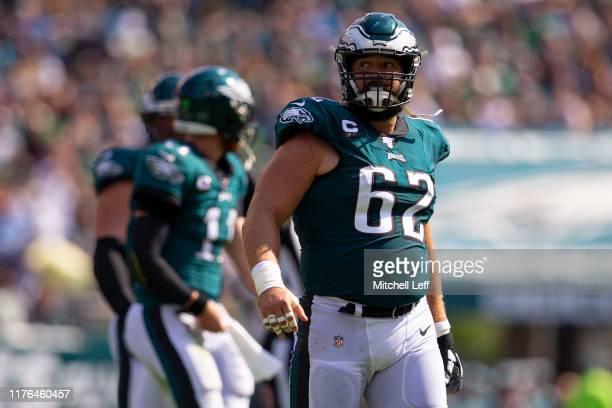 Jason Kelce of the Philadelphia Eagles looks on against the Detroit Lions at Lincoln Financial Field on September 22, 2019 in Philadelphia,...