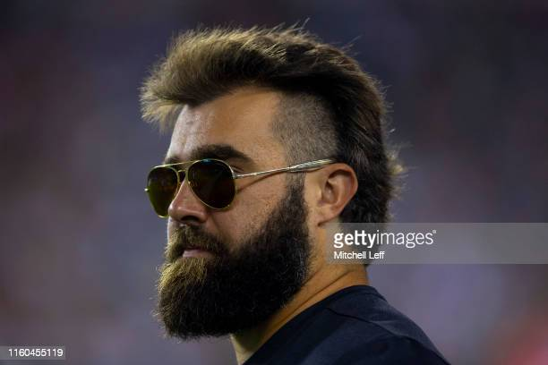 Jason Kelce of the Philadelphia Eagles looks on from the bench in the first quarter against the Tennessee Titans in the preseason game at Lincoln...