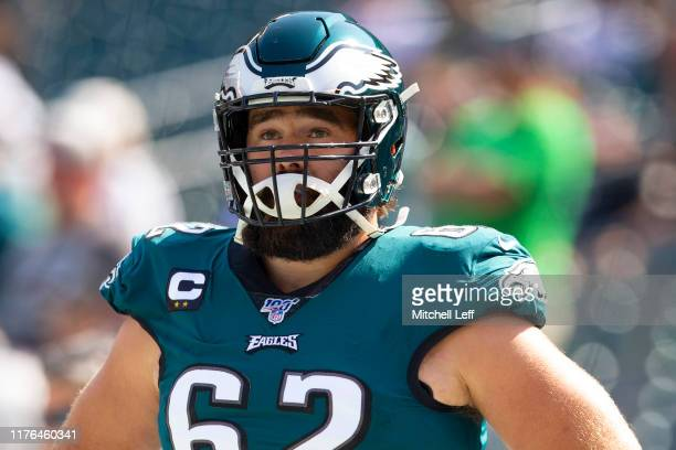Jason Kelce of the Philadelphia Eagles looks on prior to the game against the Detroit Lions at Lincoln Financial Field on September 22, 2019 in...