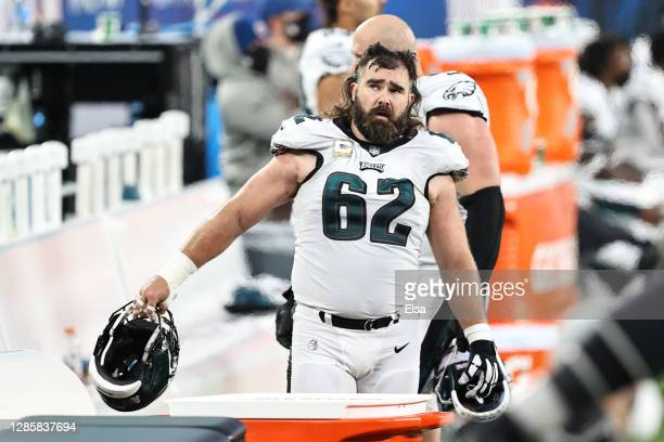 Jason Kelce of the Philadelphia Eagles reacts during the second half against the New York Giants at MetLife Stadium on November 15, 2020 in East...