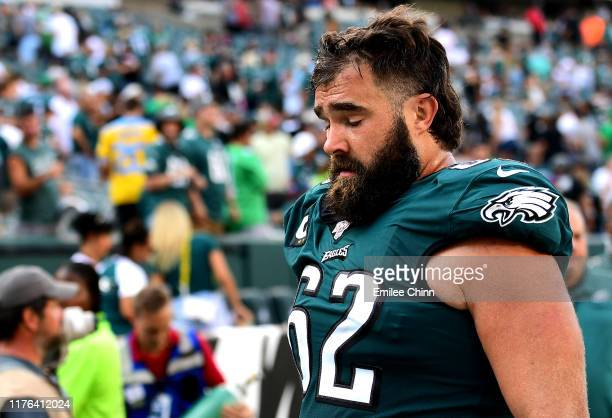 Jason Kelce of the Philadelphia Eagles reacts while walking off the field after their game against the Detroit Lions at Lincoln Financial Field on...