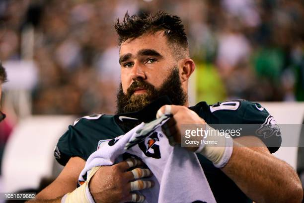 Jason Kelce of the Philadelphia Eagles walks on the sideline against the Minnesota Vikings during the fourth quarter at Lincoln Financial Field on...