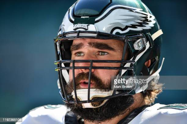 Jason Kelce of the Philadelphia Eagles warms up prior to the game against the Miami Dolphins at Hard Rock Stadium on December 01, 2019 in Miami,...