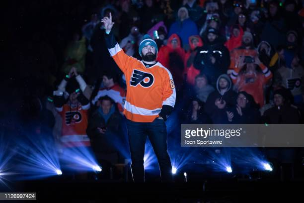 Jason Kelce of the Philadelphia Eagles was a fan favorite as a guest of the the Stadium Series game between the Pittsburgh Penguins and the...