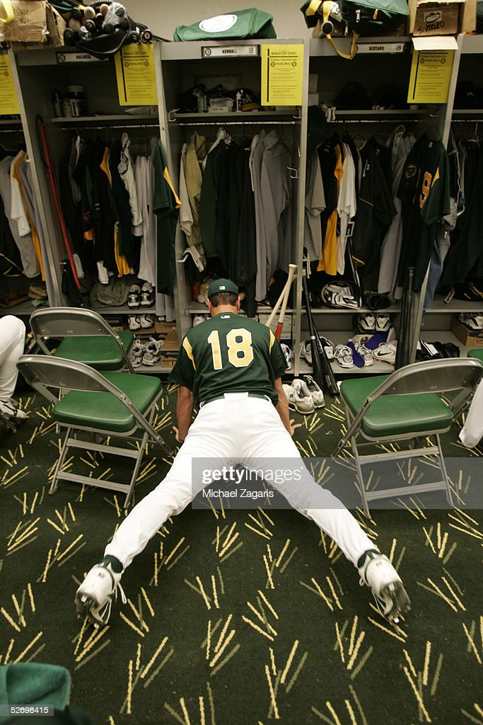 Jason Kendall of the Oakland Athletics before the MLB game against the Chicago Cubs at Phoenix Municipal Stadium on March 3, 2005 in Phoenix, Arizona. The Cubs defeated the A's 2-1.