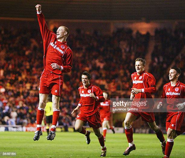 Jason Kennedy of Middlesbrough celebrates his goal during the FA Youth Cup Final, 2nd Leg match between Middlesbrough and Aston Villa at The...