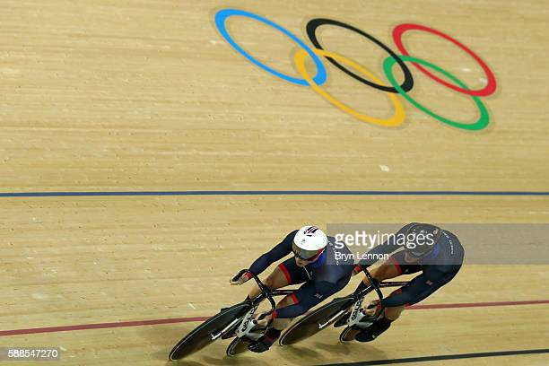 Jason Kenny and Callum Skinner of Great Britain compete in the Men's Team Sprint Track Cycling Qualifying on Day 6 of the 2016 Rio Olympics at Rio...